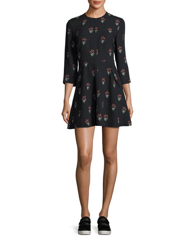 Terry 3/4-Sleeve Printed Silk Mini Dress, Black