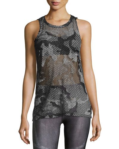 Sheer Camo Burnout Muscle Tee, Gray