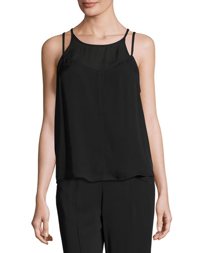 Veron Silk Double-Strap Camisole, Black