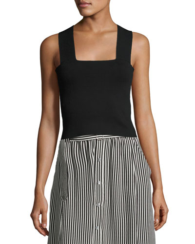 Lia Racerback Stretch Tank, Black
