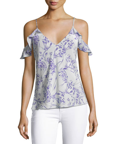Aliyah Floral Print Cold-Shoulder Camisole Top, White/Purple