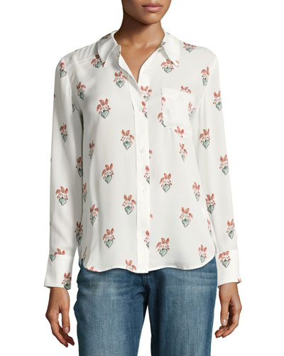 Scott Long-Sleeve Printed Silk Georgette Blouse
