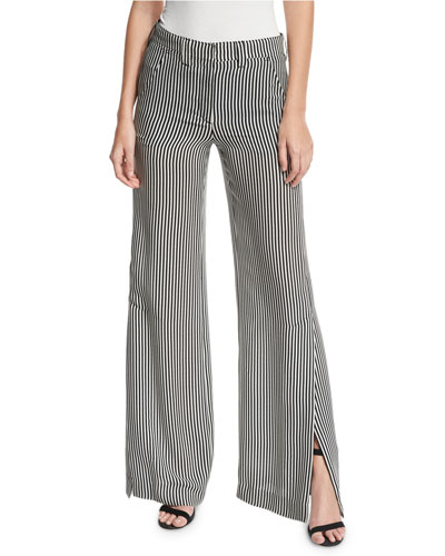 Miles Striped Silk Wide-Leg Pants, Black/White