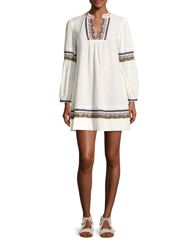 Sensory Embroidered Tunic Dress, White