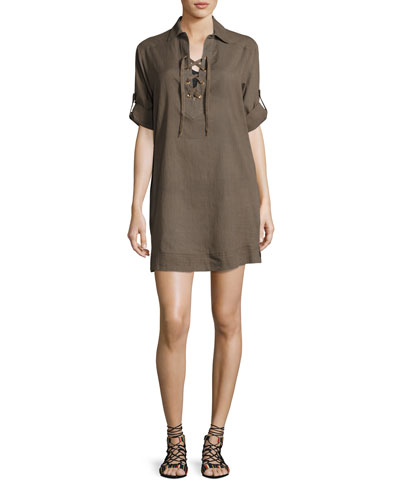 Parallels Lace-Up Cotton Shirtdress, Grayish Olive