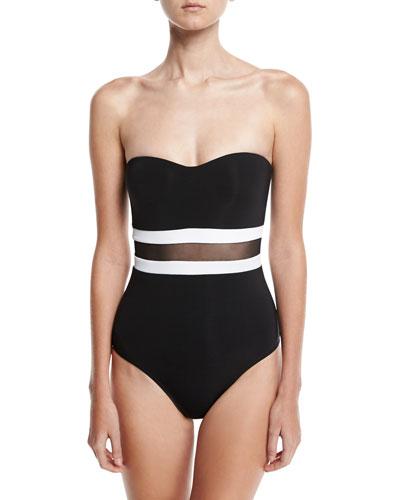 Classique Contrast Bandeau One-Piece Swimsuit, Black/White