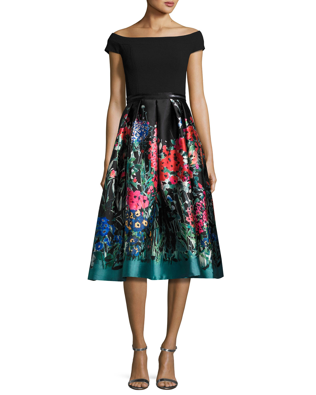 Off-the-Shoulder Ponte & Taffeta Cocktail Dress, Black