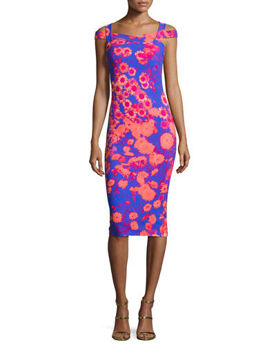 Mariska Floral Stretch Jersey Cocktail Dress, Pink/Blue