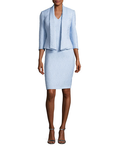 Jacquard Sheath Dress w/ 3/4-Sleeve Jacket, Blue