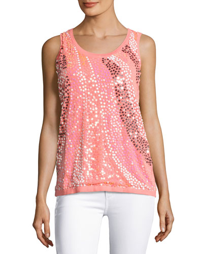 Wavy Sequined-Front Shell, Coral, Plus Size