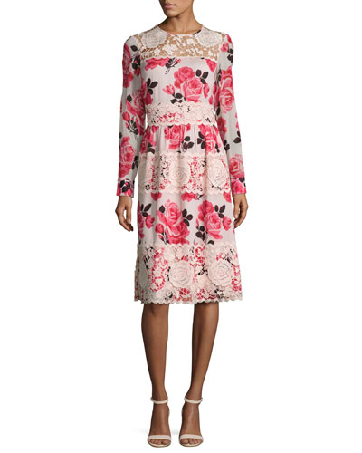 rosa long-sleeve floral lace-trim dress, multicolor
