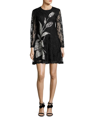 Avant Long-Sleeve Floral Lace Cocktail Dress, Jet