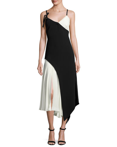 Kaidin Two-Tone Sleeveless Midi Dress, Black/Ivory