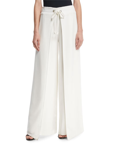Aria Wide-Leg Tie-Front Pants, Ivory