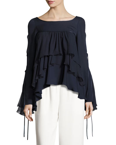 Tessa Tiered Silk Ruffle Top, Navy