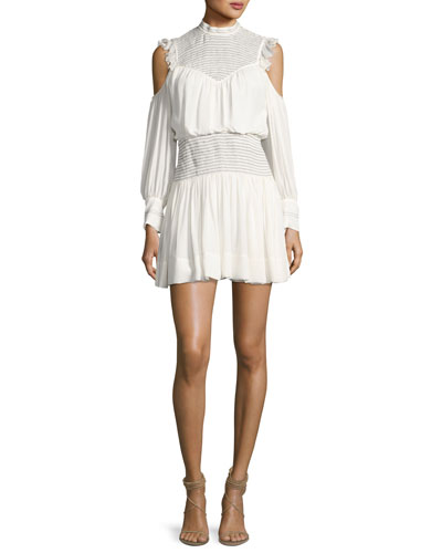 Shahla Cold-Shoulder Silk Blouson Mini Dress, Ivory