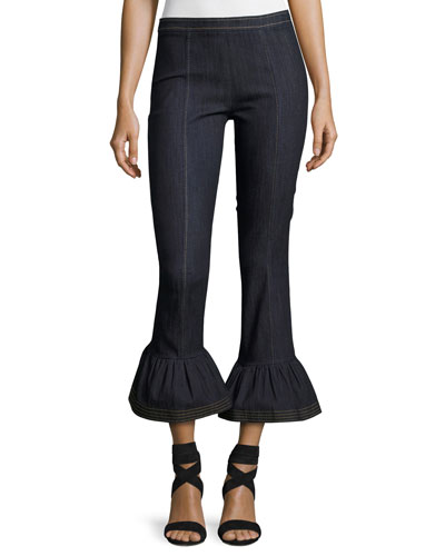 Celia Denim Bell-Bottom Skinny Pants, Indigo