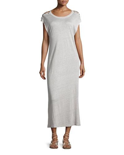 Iboga Linen Laced-Shoulder Midi Dress, Light Gray