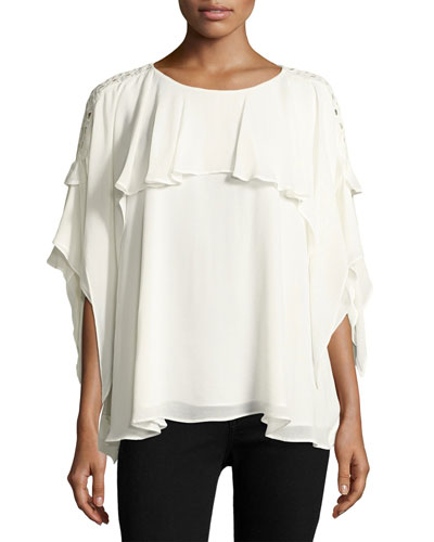 Graham Lace Sleeve Ruffle Blouse, White