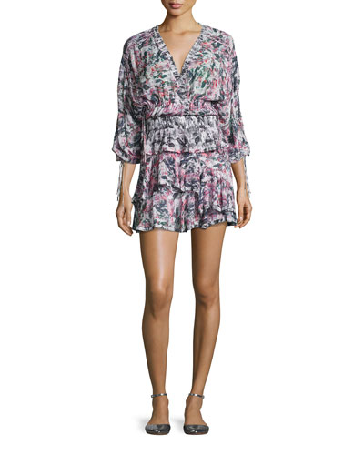 Marta Tiered Abstract Mini Dress, Pink