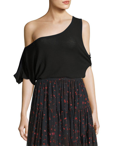 Kael Convertible Cold-Shoulder Jersey Tee, Black