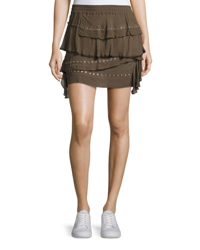 Shelan Tiered Grommet Skirt, Khaki