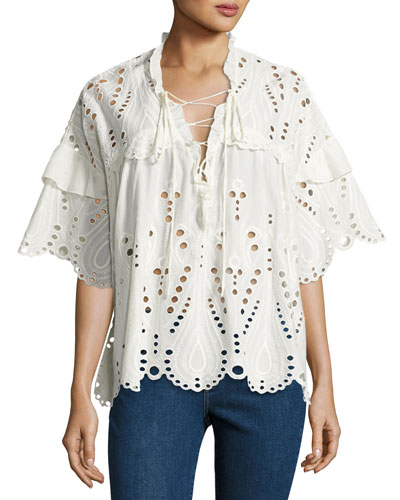 Elyor Scalloped Eyelet Top, White