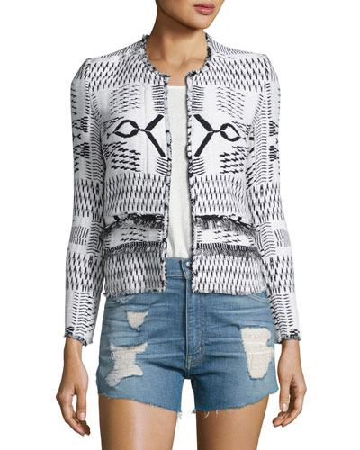 Kerr Open-Front Fringe Ikat Jacket, White/Black