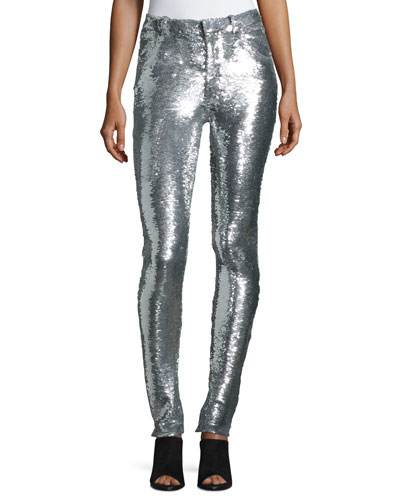 Onen Skinny Sequined Pants, Silver