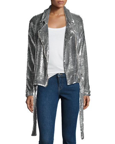 Oliv Sequined Moto Jacket, Silver