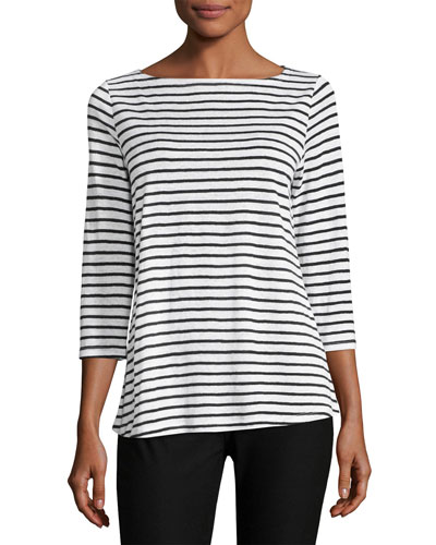 Seaside Striped Organic Linen Top, White/Black