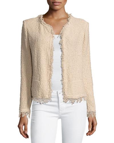 Shavani Fringe Boucle Jacket, Light Pink