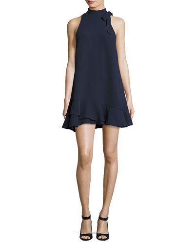 Grace High-Neck A-Line Dress, Navy