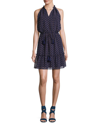 Norfolk Printed Sleeveless Drawstring Mini Dress, Deep Blue