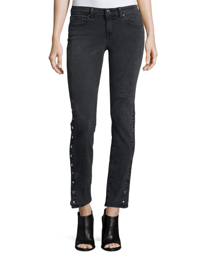 Biba Side-Snap Skinny Jeans, Black