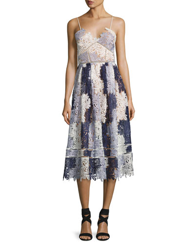Camellias Sleeveless Guipure Lace Midi Dress, Lavender Multicolor
