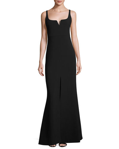 Constance Sleeveless Gown, Black