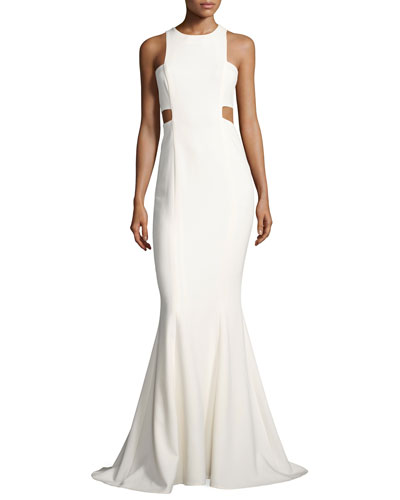 Millbury Cutout Mermaid Gown, White