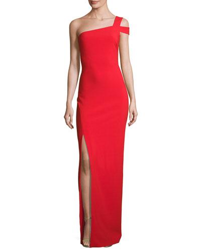 Maxson One-Shoulder Column Gown, Scarlet