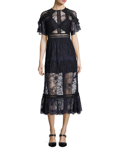 Frill-Shoulder Fine Lace Midi Dress, Navy