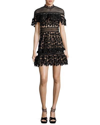 Yoke Frill Star Mini Dress, Black