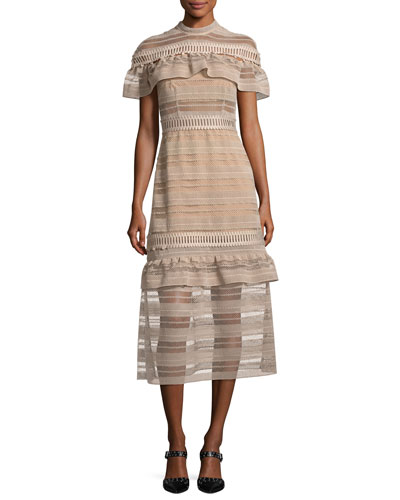 Frill-Yoke Lace Midi Dress, Nude