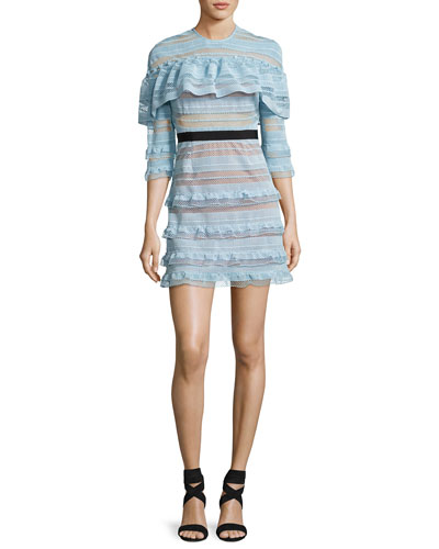 Grid-Stripe Frill 3/4-Sleeve Mini Dress, Light Blue