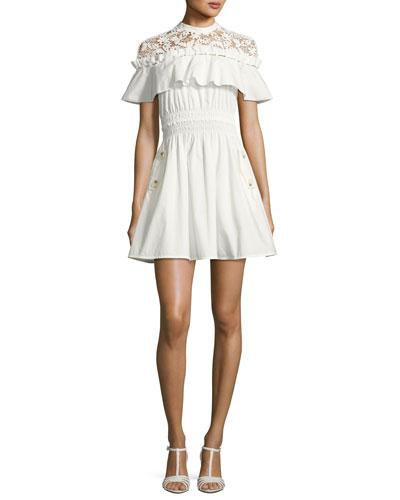 Hudson Lace-Yoke Ruffle Mini Dress