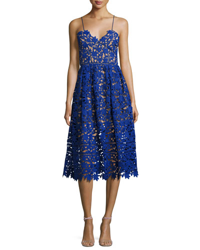 Azaelea Guipure-Lace Illusion Cocktail Dress, Cobalt