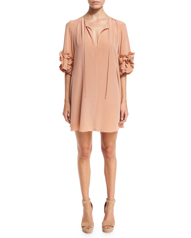 Ruffle-Sleeve Silk Shift Dress, Beige