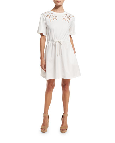 Short-Sleeve Embroidered Poplin Dress