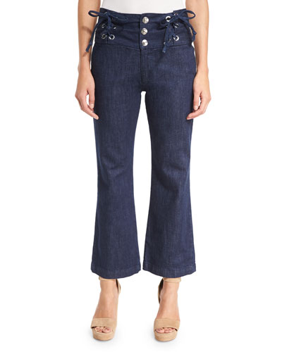 Cropped Chambray High-Rise Flare Trousers, Blue
