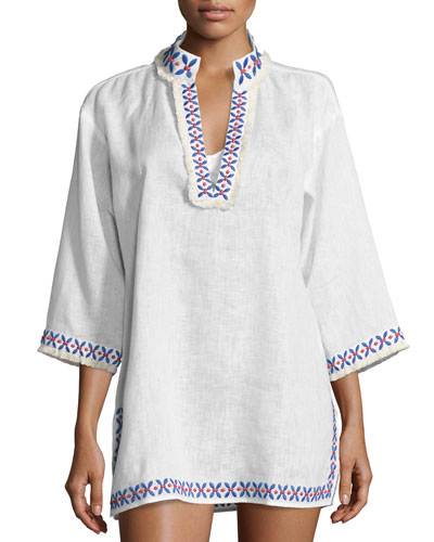 Embellished Linen Coverup Tunic, White