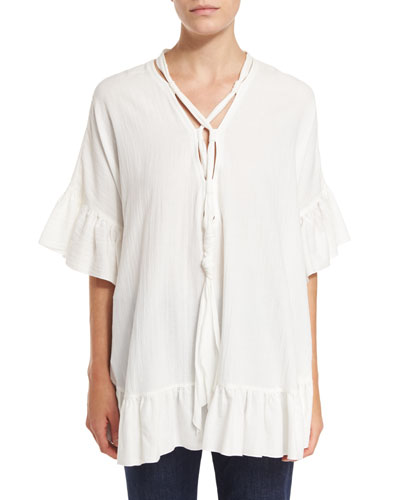 Short-Sleeve Voile Ruffle-Trim Tunic, White